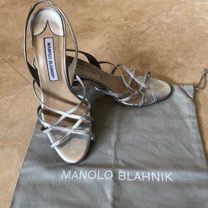 Manolo Blahnik silver strappy sling back heels